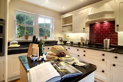 Kitchen at Brokenheugh Self-catering Lodge, in Haydon Bridge near Hexham and Hadrians Wall, Northumberland, UK